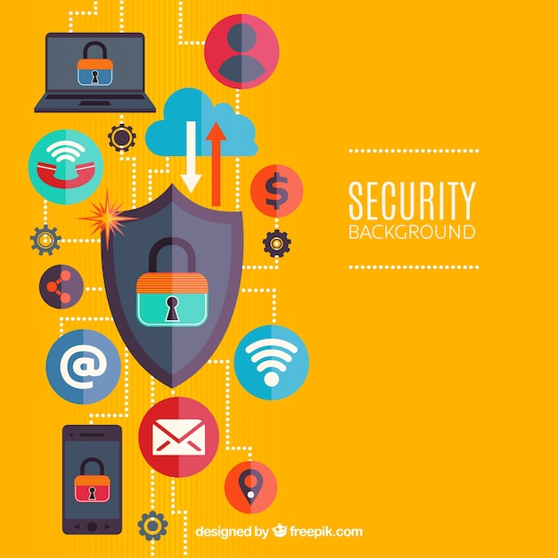 Background with internet security elements Free Vector