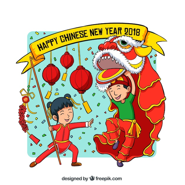 background with kids for chinese new year free vector