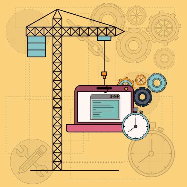 Background with laptop computer apps for development of the construction Premium Vector