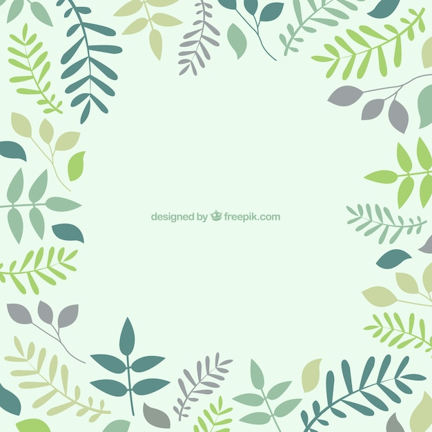 Background with leaves in green tones Free Vector