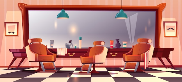 Background with male barbershop Free Vector