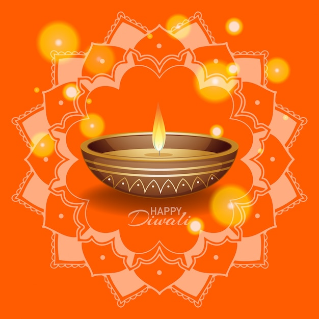 Background with mandala pantern for happy diwali festival Free Vector