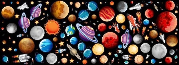 Background with many planets in space Free Vector