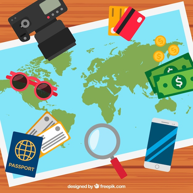 Background with map and travel elements Free Vector