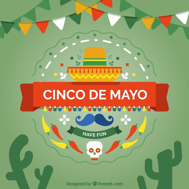 Background With Mexican Elements Of Cinco De Mayo Vector ...