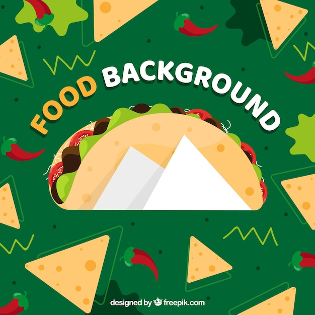 Background with mexican food Free Vector