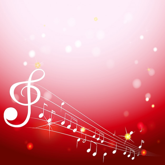 Background with musical notes on white scales Free Vector