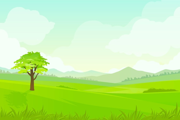 Background with natural landscape for video calls Free Vector
