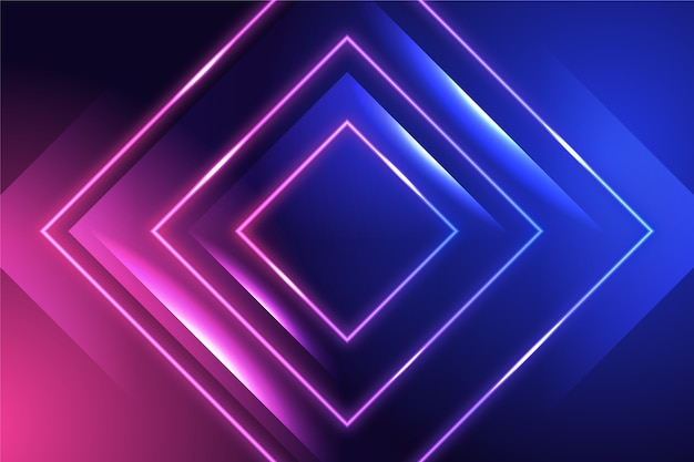 ネオンと正方形の背景 Premiumベクター