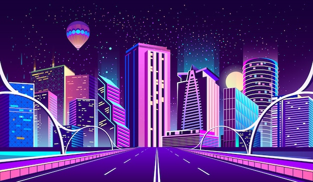 Background with night city in neon lights Free Vector