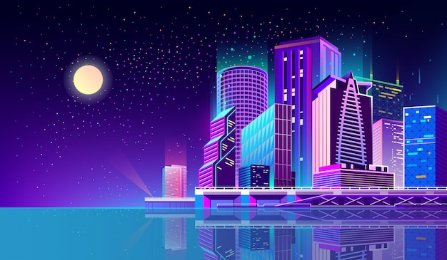 Background with night city in neon lights Vector | Free ...
