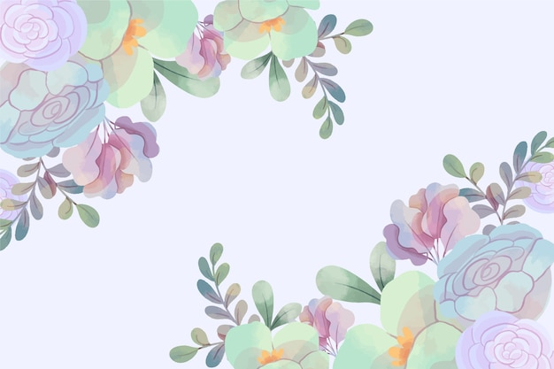 Background with pastel watercolor flower Free Vector