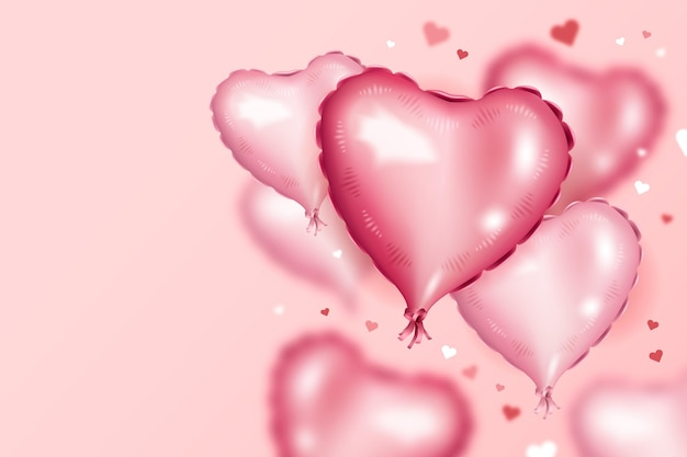 Background with pink heart shaped balloons for valentine's day Free Vector