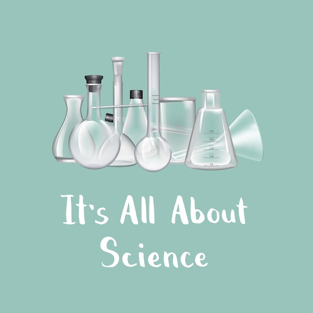 Background with place for text and chemical laboratory glass tubes illustration Premium Vector