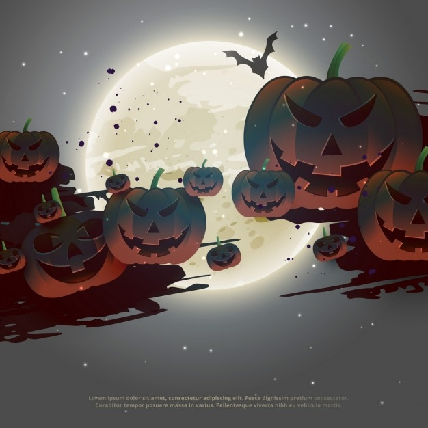 Background with pumpkins on a full moon for halloween night