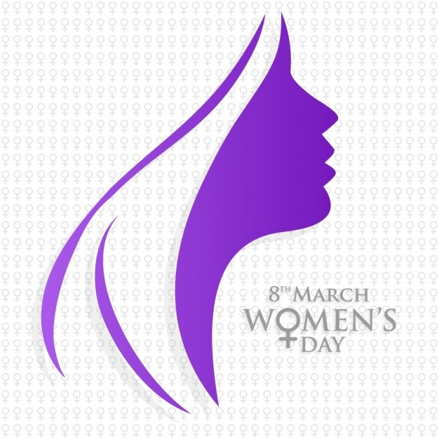 Background with purple silhouette for woman's day Free Vector