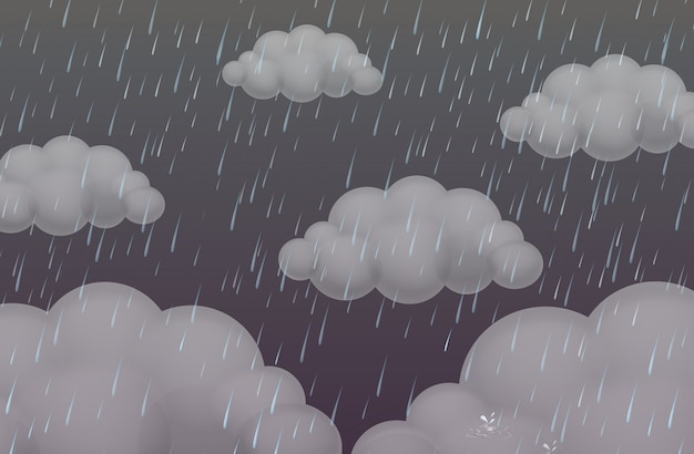 Background with rain in dark sky Free Vector