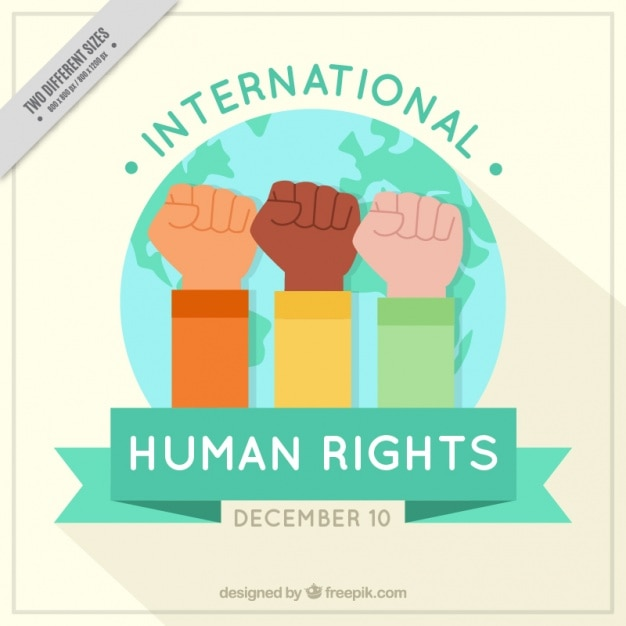 Background with raised fists for human rights day Free Vector