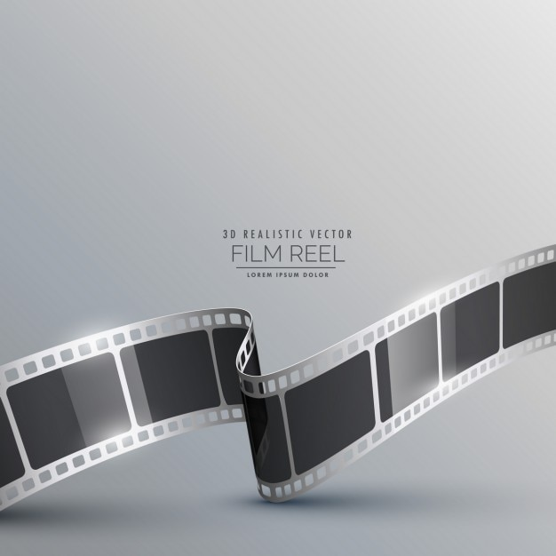 Background with realistic film strip Free Vector