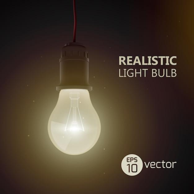 Фон с реалистичной электрической лампой накаливания, сияющей в темной комнате, висящей на проводной лампочке с иллюстрацией текста заголовка Premium векторы