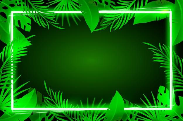 Фон с реалистичными листьями с концепцией неоновая рамка Бесплатные векторы