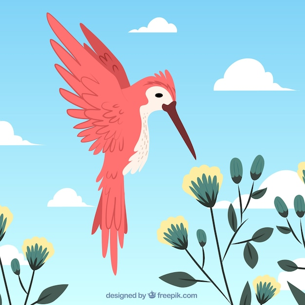 Background with red bird and flowers