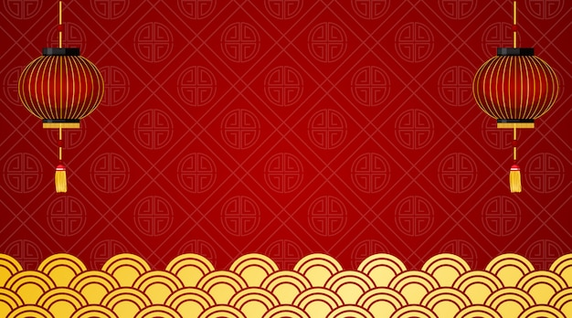 Background with red lanterns and chinese design Free Vector