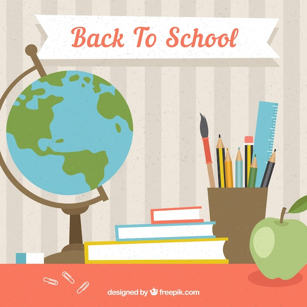 Background with school elements in flat design