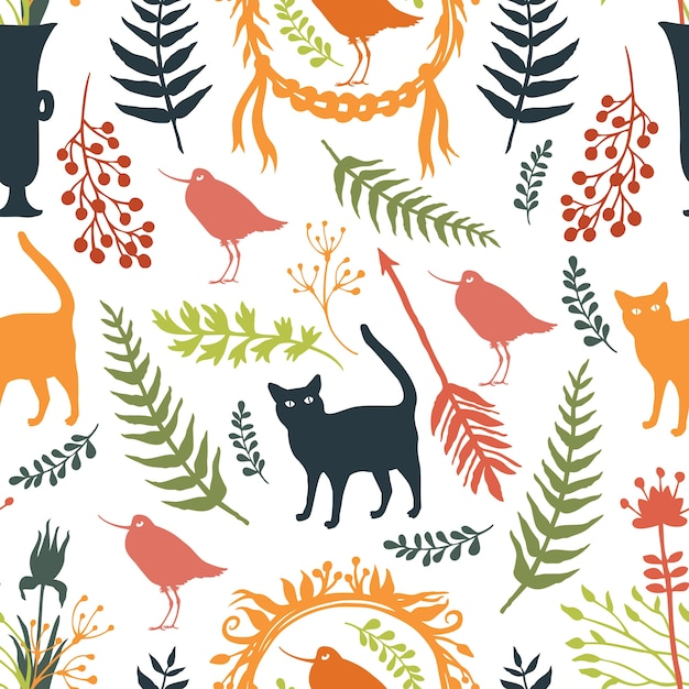 Background with silhouettes of birds and cats, flowers and twigs Free Vector