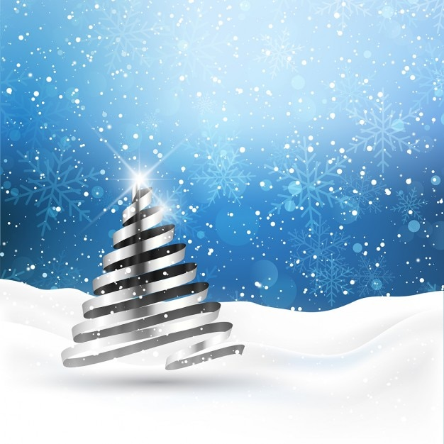 Background with silvery christmas tree Free Vector
