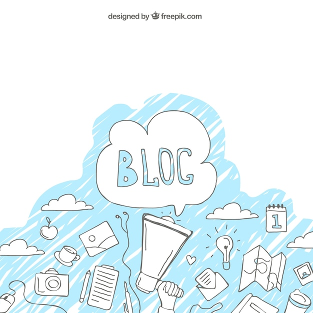Background with sketches of blog Free Vector