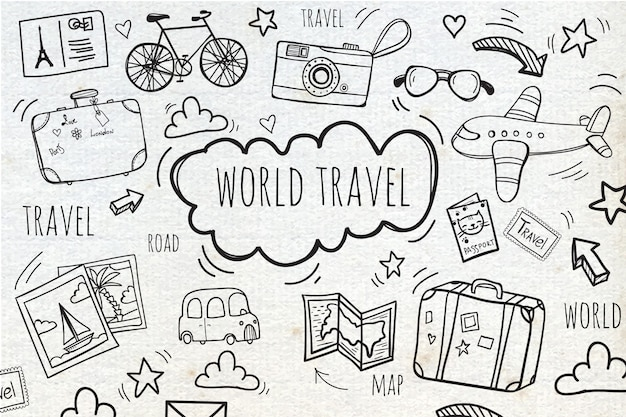 Background with sketches travel  Free Vector