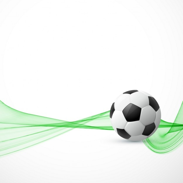 Background with a soccer ball and abstract green shapes Free Vector