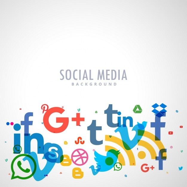 background with social media icons vector free download