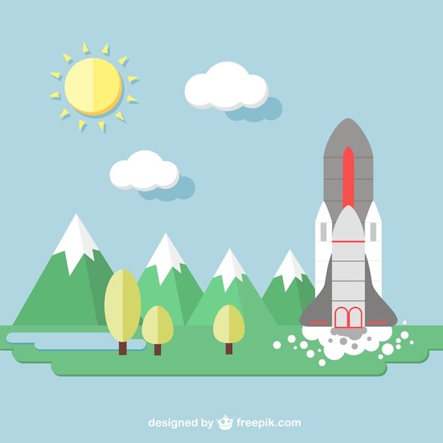 Background with space shuttle