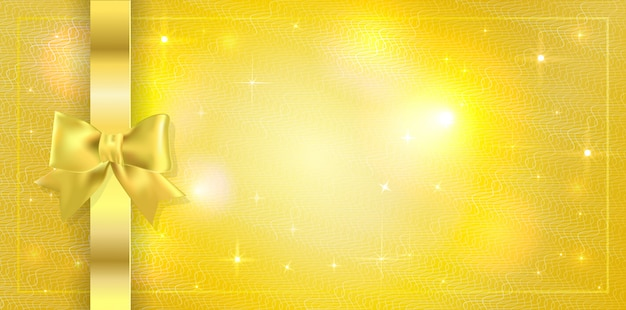 Background with sparkles stars and tied with ribbon with gold bow. copyspace Premium Vector