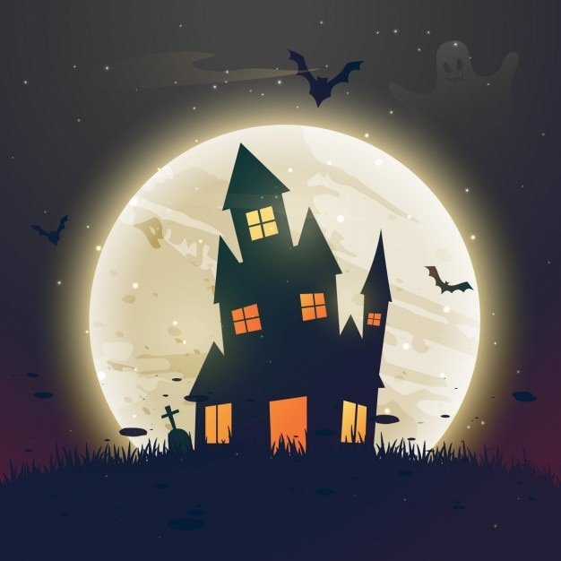 Background with a spooky landscape for halloween party