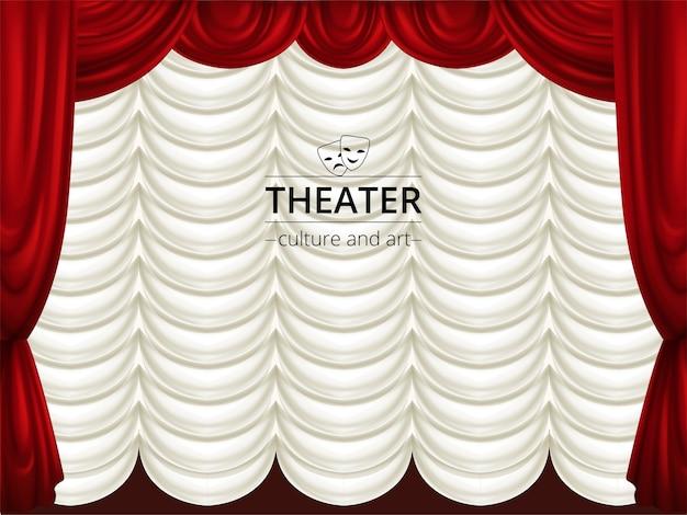 Фон со сценой, красные и белые театральные шторы. шелковая драпировка. Premium векторы