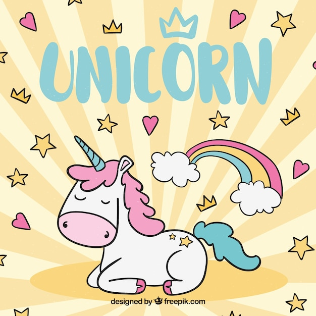 Background with stars and hearts with hand drawn unicorn Free Vector