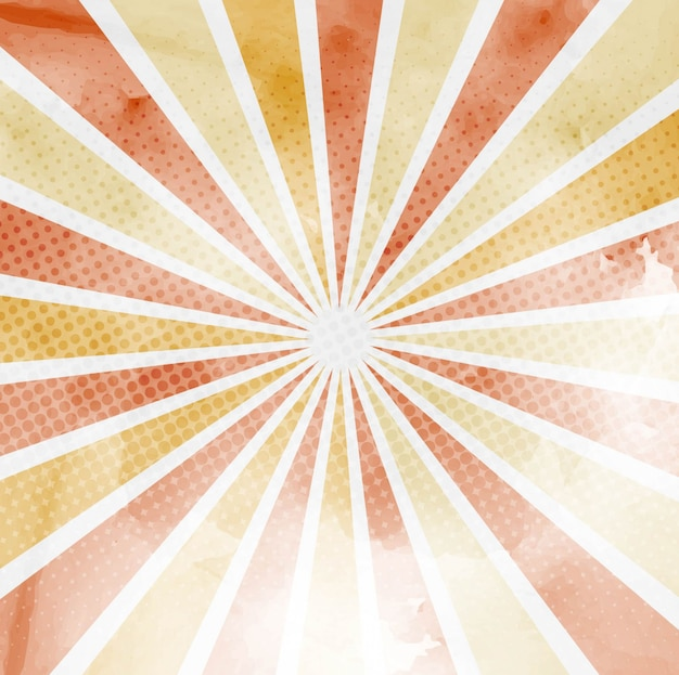 Background with sun rays and halftone dots, warm tones  Free Vector