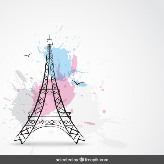 Background with tour eiffel and splashes Free Vector