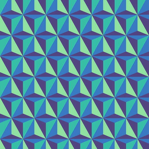 Background with tricolor geometric triangular prism patterns Premium Vector
