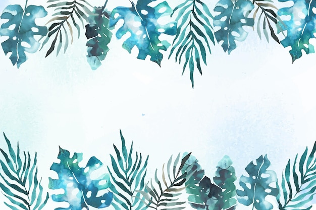 Фон с тропическими листьями в акварели Бесплатные векторы