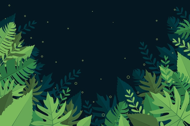 Background with tropical leaves theme Free Vector