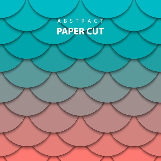 Background with turquoise and coral paper cut Premium Vector