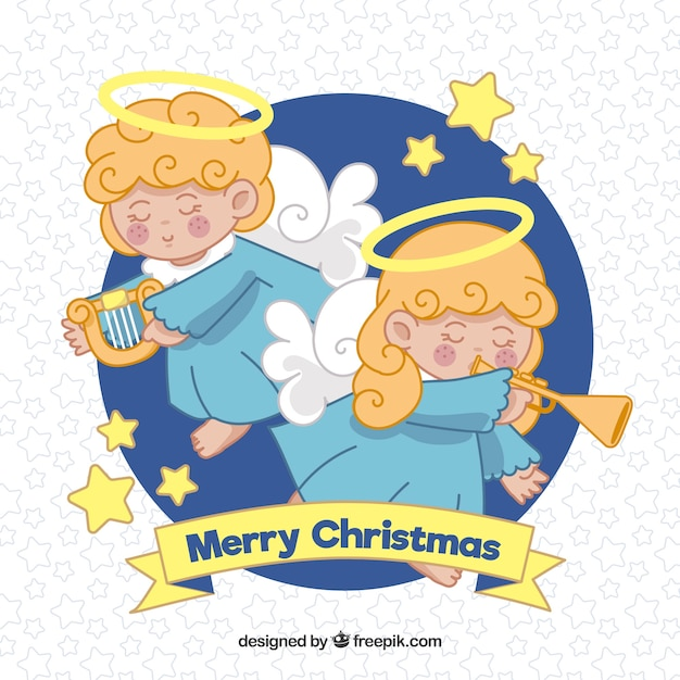 Background with two nice christmas angels