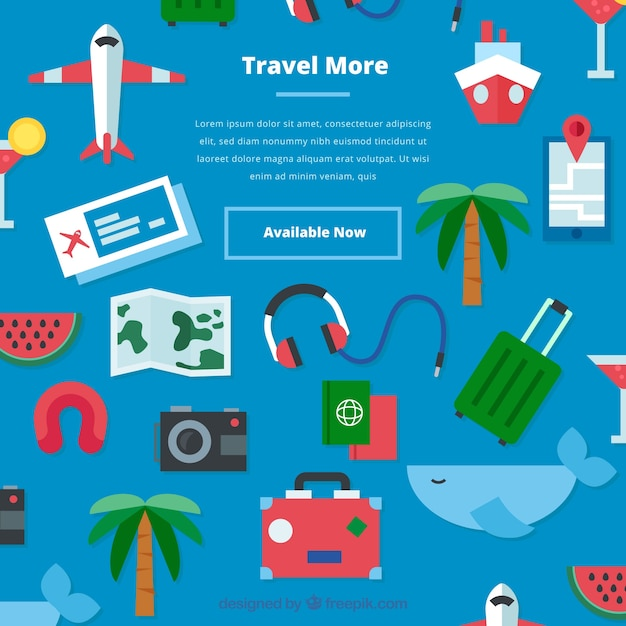 Background with vacation elements in flat\ style