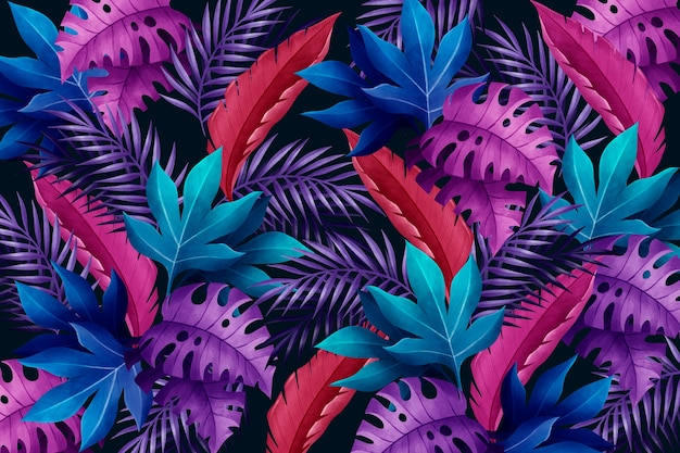 Background with violet and blue tropical leaves Premium Vector