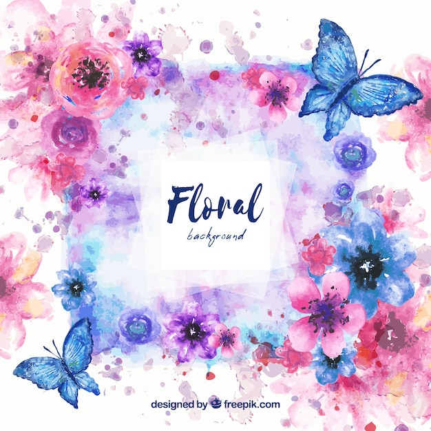 Background with watercolor floral Free Vector