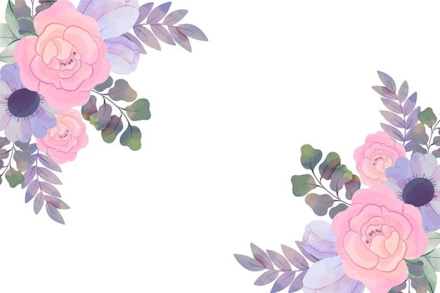 Background with watercolor flowers in pastel colors Free Vector